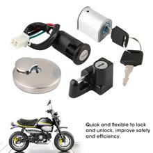 Ignition Lock Fuel Tank Cap Lock Helmet Lock Anti-theft Lock Kit Universal for Honda Monkey Ape ABS Plastic + Aluminum Alloy