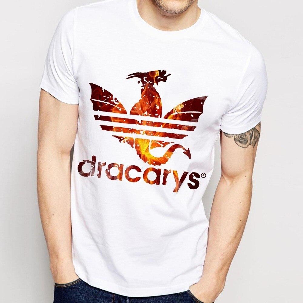 Camiseta divertida Daenerys Dragon Dracarys para hombre, novedad de verano, camiseta casual unisex Vintage blanca para hombre Harajuku