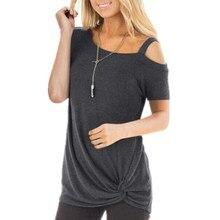 Été à manches courtes chemise femmes épaule dénudée coton lâche Tee hauts Femme asymétrique cou décontracté T-Shirts