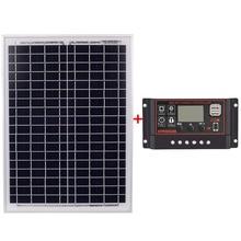 Solar Panel 18V 20W Black Solar Panels + 12V/24V Solar Controller With Usb Interface Battery Travel Power Supply