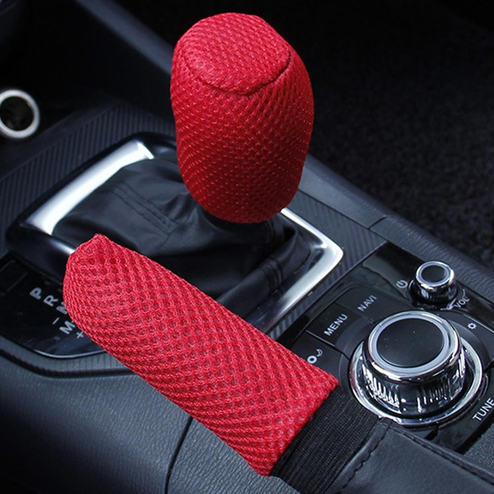 LEEPEE Auto Decoration Hand Brake Cover Sleeve 2pcs/set Car Handbrake Grips Universal  Hand Brake Gear Shift Knob Cover