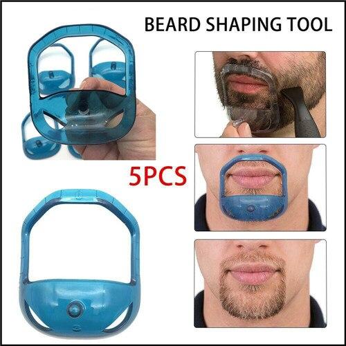 5 pçs/set Cavanhaque Ferramenta Shaping Shaper dos homens Barba Facial Cabelo Barba Barbear Aliciamento Kit Ferramenta de Modelagem Barba com Saco