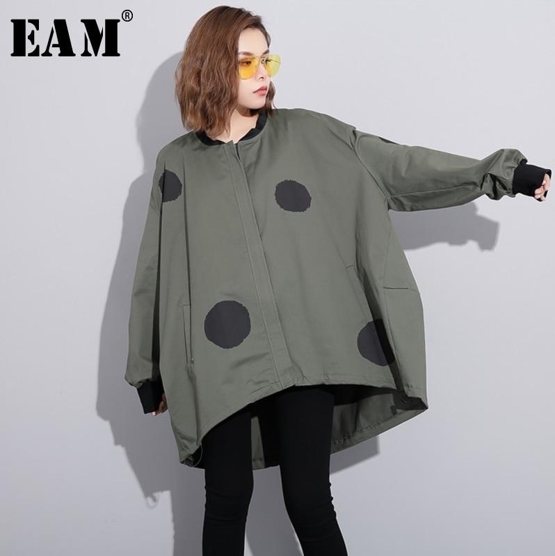 [EAM] 2020 nueva primavera cuello alto manga larga punto impreso Irregular Color sólido tamaño grande chaqueta mujer moda marea JC952