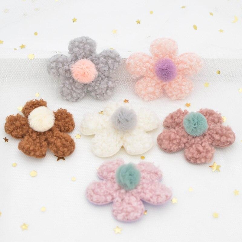 6 pçs teddy plush pads applique chiffon bola vara-on flor remendo para roupas chapéu leggings acessórios de costura diy grampos de cabelo g13
