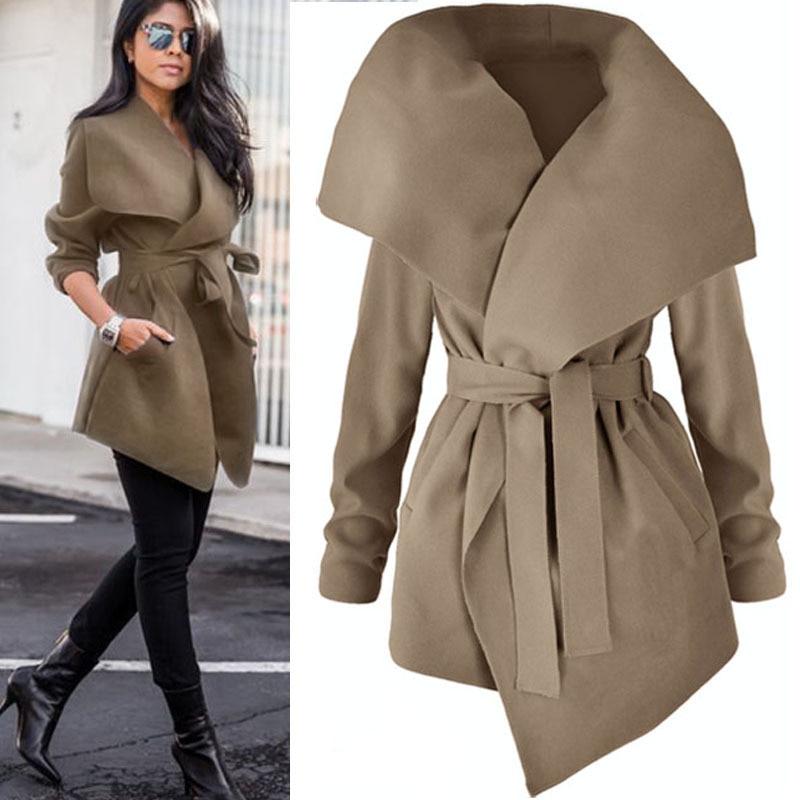 Abrigo de lana fina con cinturón abrigo de invierno traje de cuello...