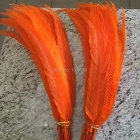 ems free shipping 100pcs orange silver pheasant feathers 65 70 26 28inch pheasant tail silver feathers feathers cloth accessory