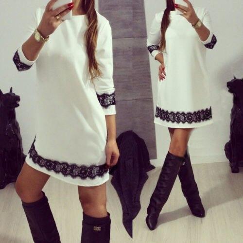 Mode Damen Frauen Langarm Spitze Patchwork Kleid Lose Tunika Mini Kleider Vestidos