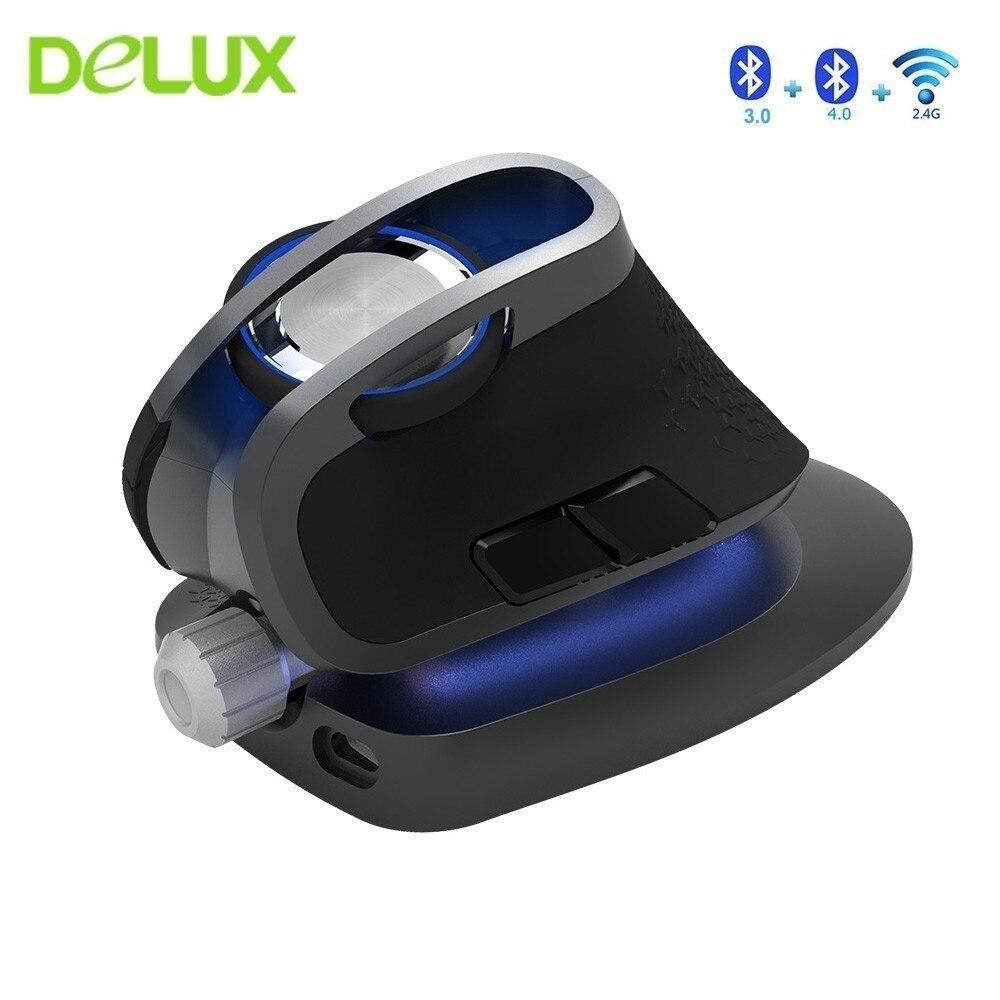 Delux M618X verticale sans fil Bluetooth 3.0 4.0 souris 2.4Ghz ergonomique Rechargeable Laser Mause 6D double Mode Usb souris dordinateur