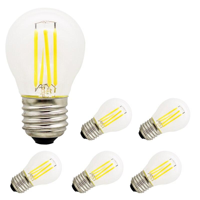5pcs Incandescent Lamp Edison LED Bulb G45 110V  E27 2W 4W 6W  Vintage Retro Light Bulbs for Wedding Decorating for Home