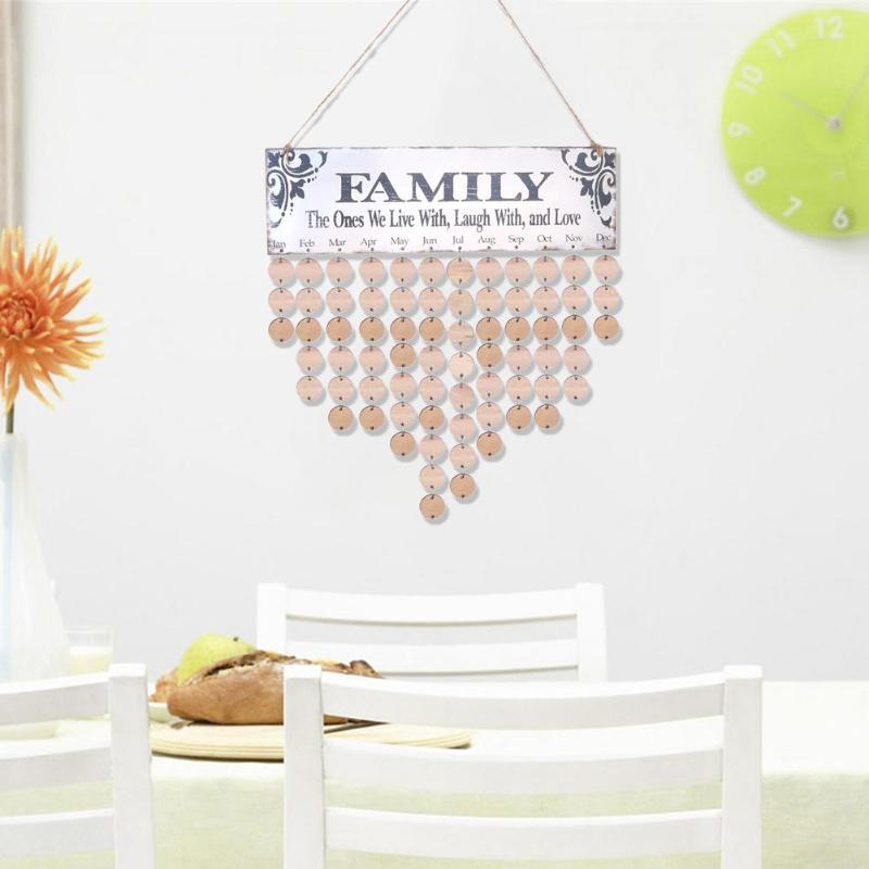 Calendario de cumpleaños familiar de madera DIY para colgar en la pared, aviso de fecha especial, planificador, tablero, decoración para el hogar y la Oficina, regalos