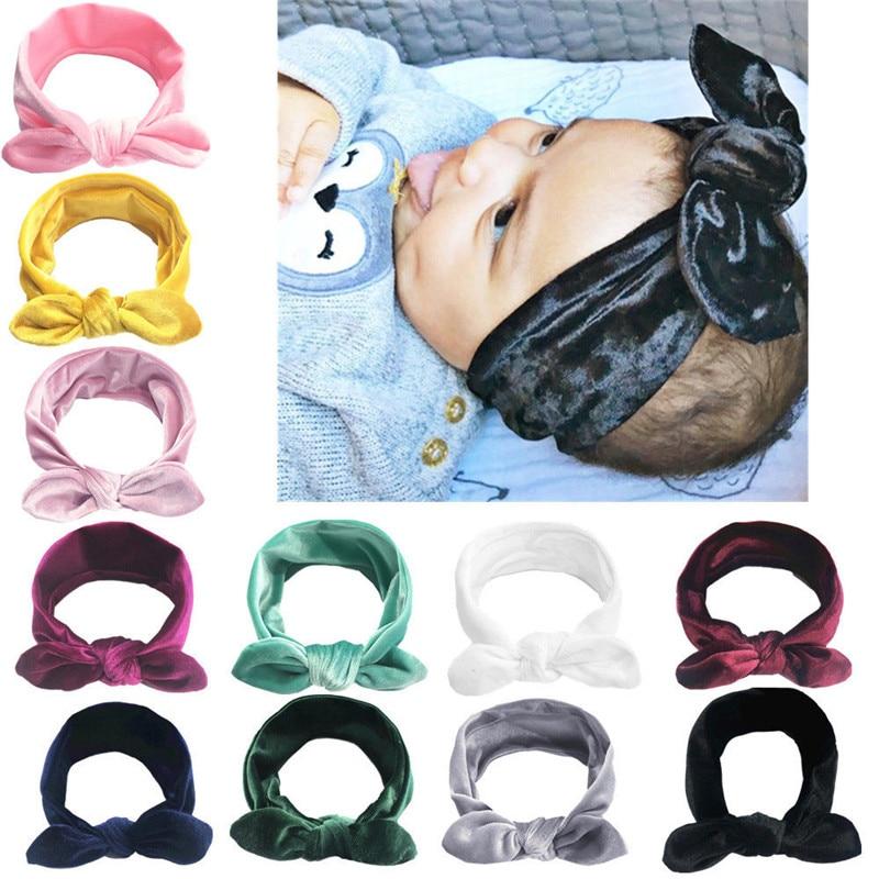 Lindo bebé niños niñas lazo de conejo oreja Hairband diadema turbante nudo envolturas cabeza