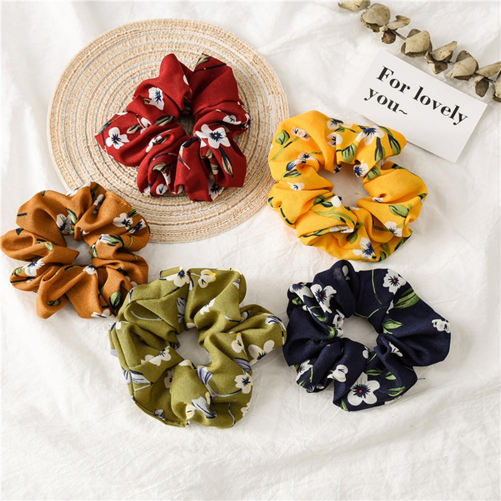 High Quality 2019 New Hair Scrunchies For Women Flower Elastic Hair Bands Headwear Ponytail Holder Hair Ties Ropes