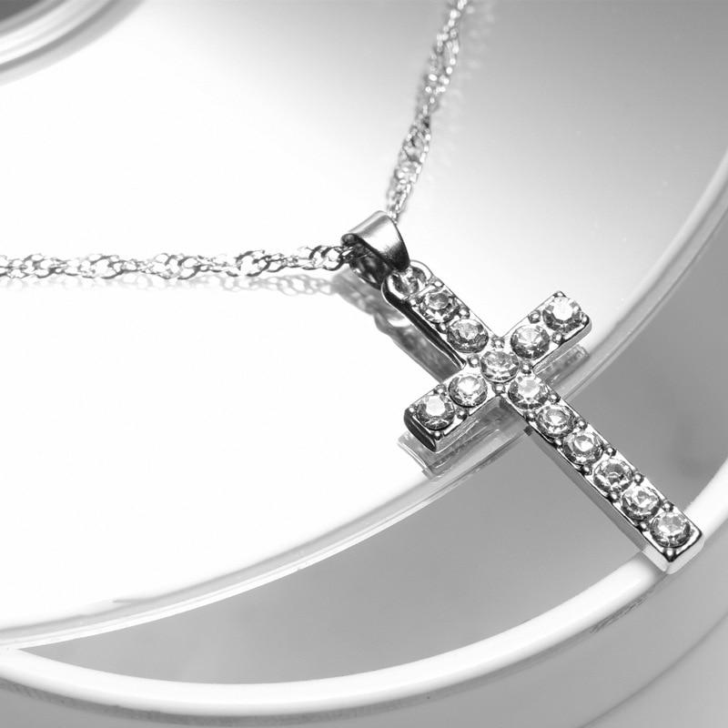 Collares colgantes Cruz chapada en plata para mujer, collares largos de moda, accesorios de Jersey, joyería de cristal JN0160