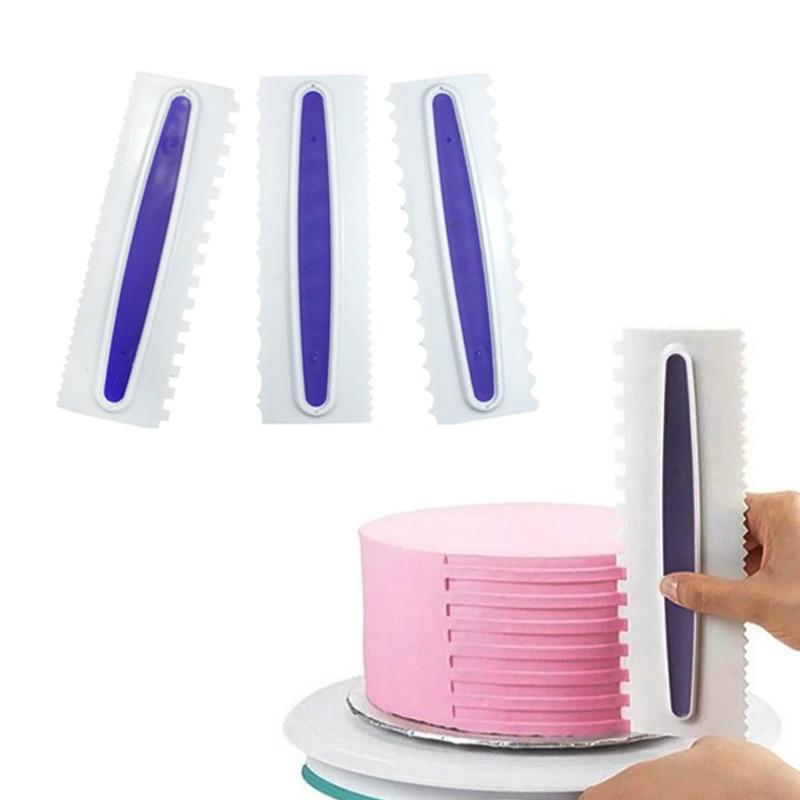 1 PC Gebäck Icing Kamm Set Kunststoff Kuchen Schaber 6 Design Texturen Fondant Spatel Backform Kuchen Dekorieren Werkzeuge Lila