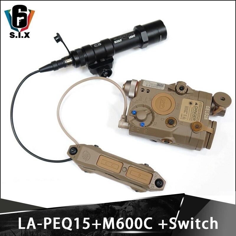 Tactical Softair Surefir M600 Light And Red Laser LA PEQ15 And Tactical PEQ Switch Wapens Flashlight PEQ 16A Switch SET