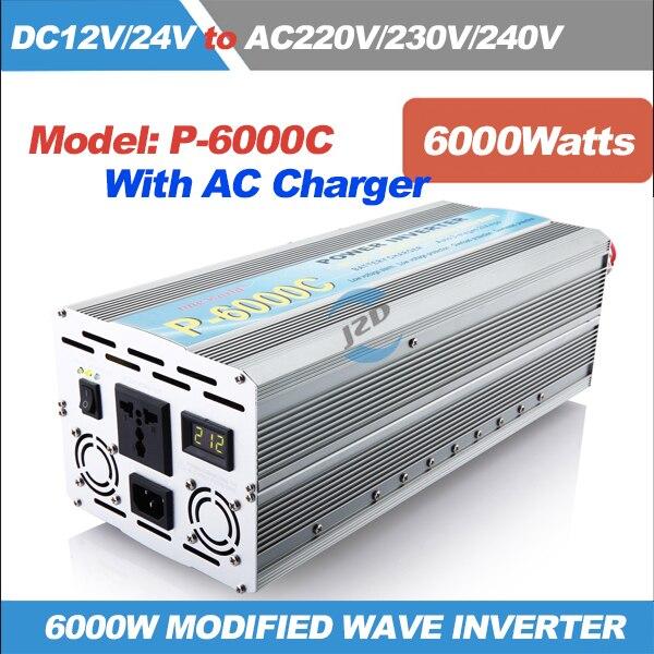 Inversor solar 6000 w modificado inversor de onda senoidal 6kw potência de impulso 12kw dc12v24v 220vac dc ao conversor ac