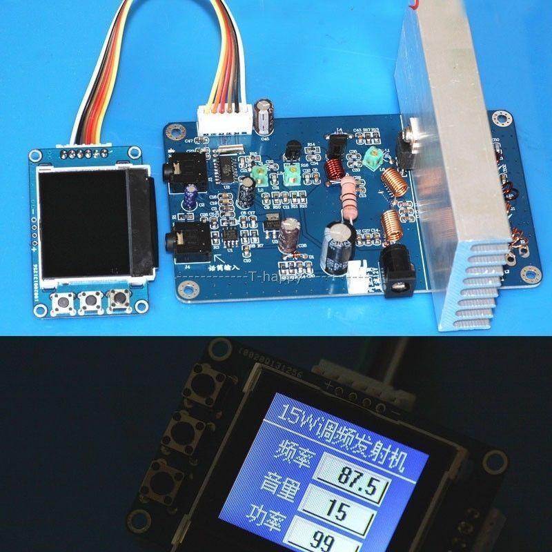 Цифровой частотный набор, 15 Вт, fm-передатчик, радиостанция PLL, стерео, максимальная мощность, 18 Вт + цифровой ЖК-дисплей