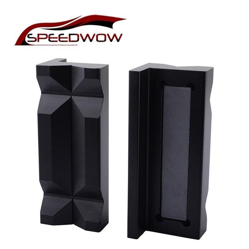 Speedwow universal alumínio vise maxila inserções de proteção para uma mangueira de óleo encaixes com parte traseira magnética para fornecimento de combustível & tratamento
