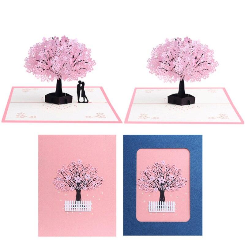 3d carving flor de cerejeira cartão de convite de casamento cartão cartão de visita dia dos namorados presentes