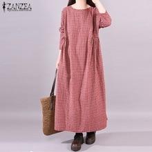 ZANZEA femmes Robe automne à manches longues Robe à carreaux poches Vestido caftan Robe décontractée col rond robes grande taille Robe Maxi