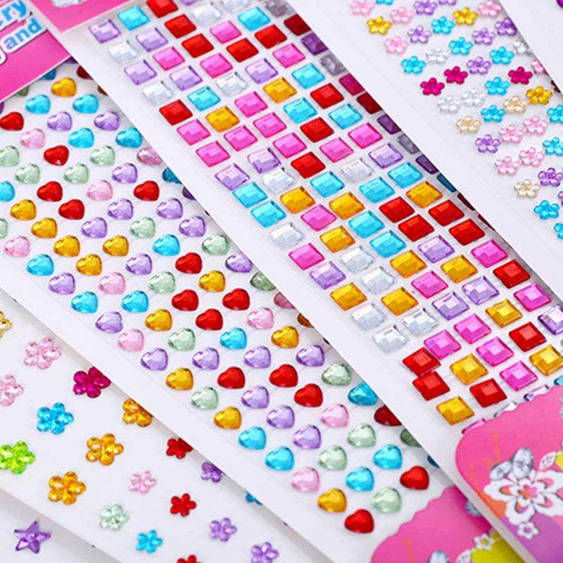 Mixed Color Acrylic Scrapbooking Craft Sticker Mobile Phone Car Decor 1 Set Diamond Sticker Self Adhesive DIY Children Toy Gift
