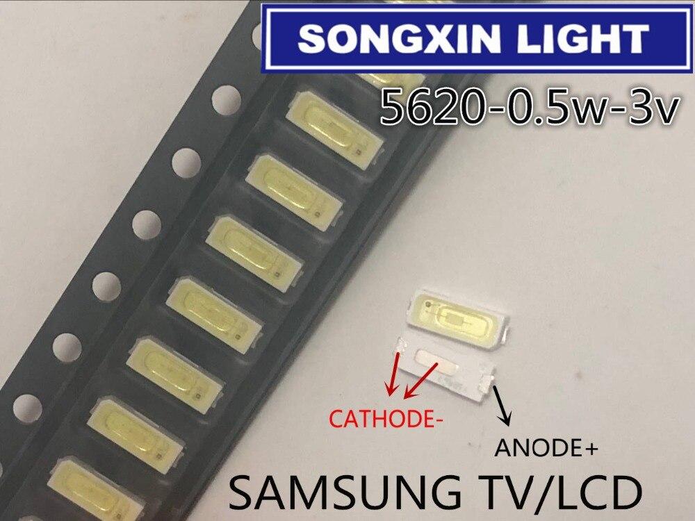100 piezas para reparación de TV LCD, luces de tira de retroiluminación led SAMSUNG TV con diodo emisor de luz 5620 SMD LED 5620 0,5 W 3V