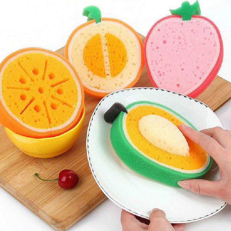 Divertido plato de limpieza esponja 3D fruta fuerte paño limpio algodón lavar platos fregado Pad herramientas de cocina y hogar limpieza suministro