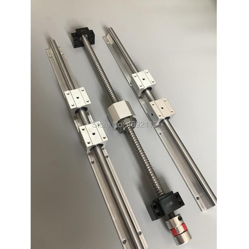 SBR 20 الخطي دليل السكك الحديدية 6 مجموعة SBR20 - 300/600/1000 مللي متر + 3 قطعة ballscrew مجموعة SFU1605 - 350/650/1050 مللي متر + BK/BF12 ل CNC أجزاء