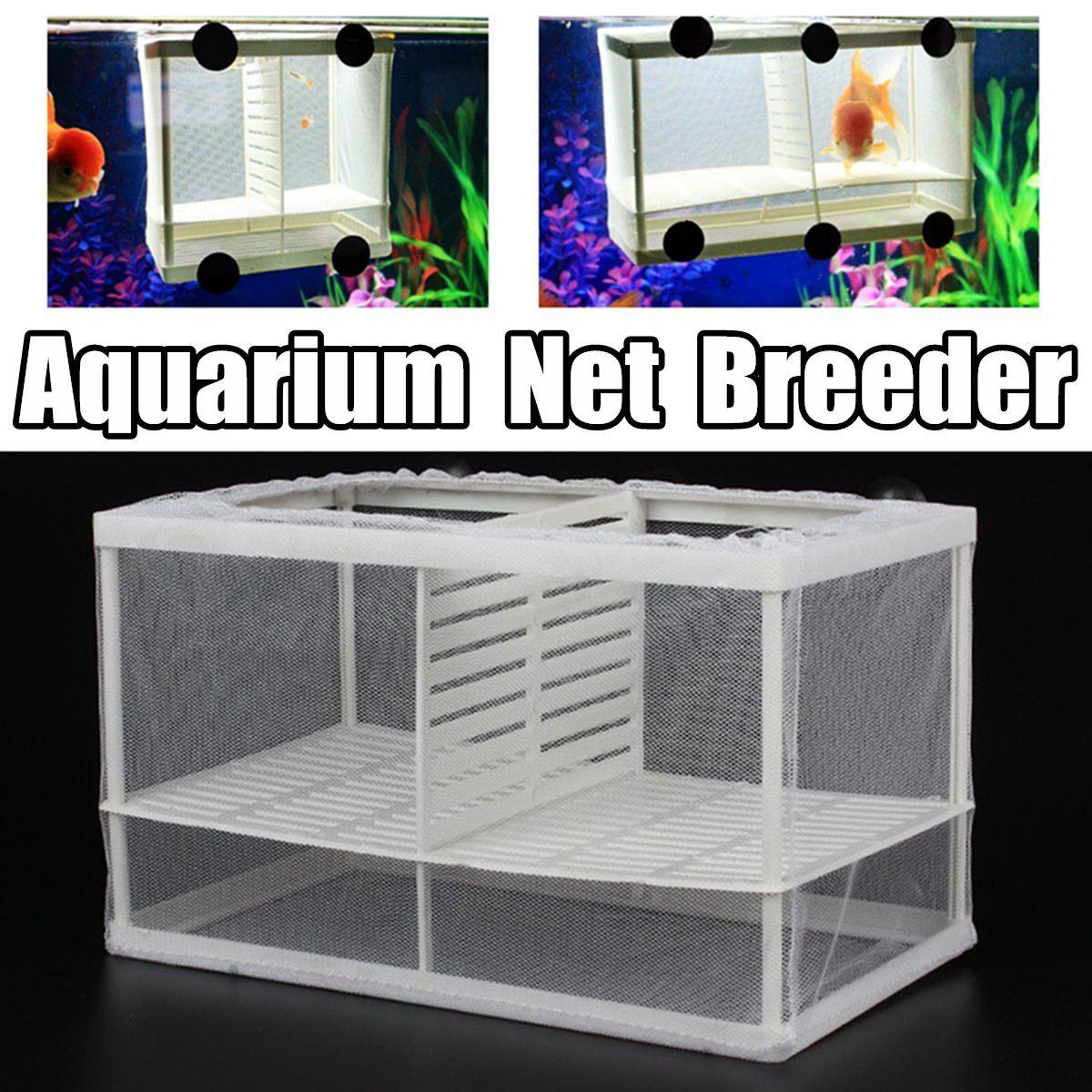 Tanque de peces para acuario de 2 tamaños, criador de peces Guppy, separador de red de plástico para bebés, trampa, incubadora, pesca con ventosas