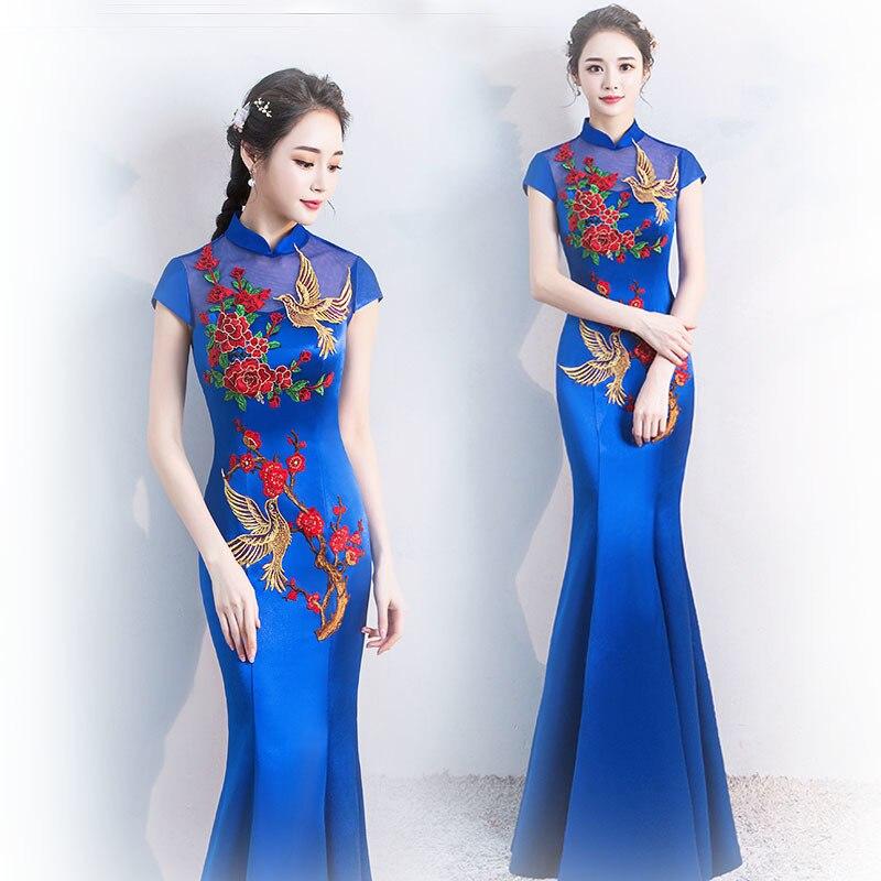 Azul Marino Vestido chino tradicional Guzheng satén Cheongsam Vestido femenino sirena vestidos largos de noche trajes orientales XL 3XL