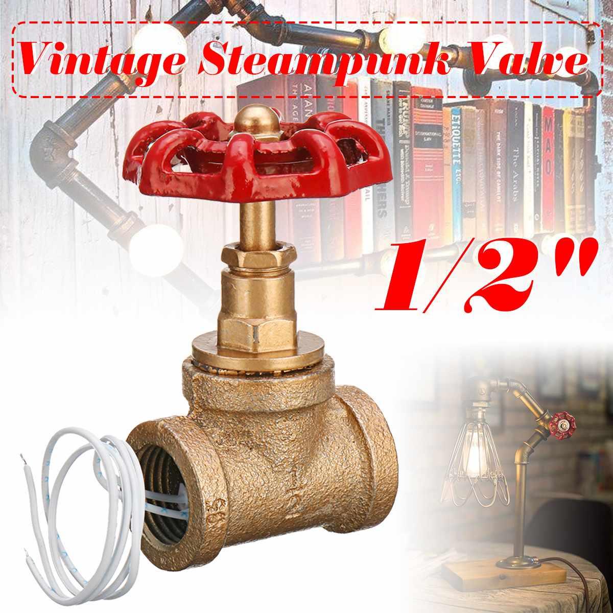 Interruptor de luz vermelho da válvula da parada do punho do vintage 1/2 Polegada com fio para a lâmpada da tubulação de água