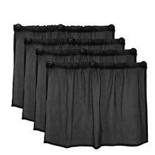 4 Uds 75X50 Cm malla negra de coche protector solar ventosa cortina de ventana lateral