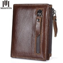 2019 New Genuine Leather Mens Wallet Man zipper Short Coin Purse Brand Male Cowhide Credit&id Wallet