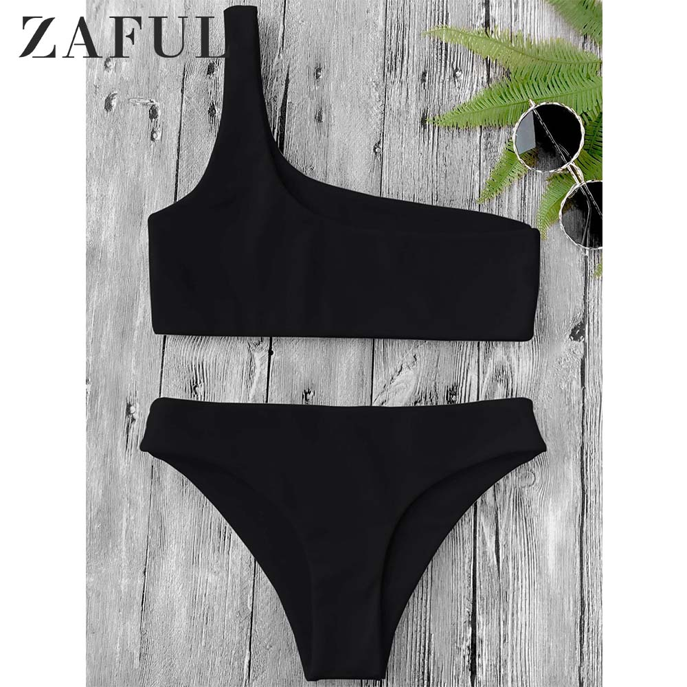 ZAFUL un hombro Bikini Top y Bottoms alambre libre elástico bajo cintura Bralette Bra corto Top mujeres verano Bikini Sets 2020