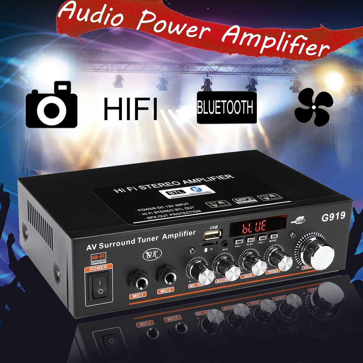 Amplificador Digital de Audio estéreo con bluetooth DC12V AC220V, sintonizador envolvente, 2CH,...
