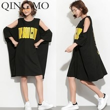 QING MO Off-Shoulder Loose T-Shirt Dress Bat Short Sleeve T-Shirt Dress Women Letter Printing T-Shirt 2020 ZLD657A