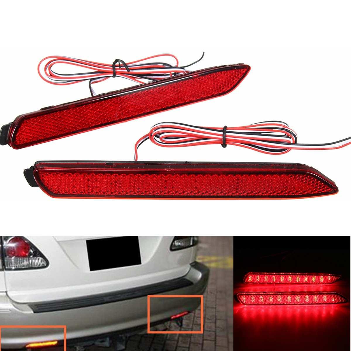 Um par de carro traseiro cauda pára-choques luzes led para lexus IS-F gx470 rx300 led traseiro pára-choques refletor luzes de freio estilo oem lente vermelha