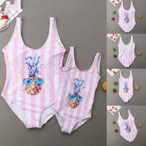2019 Fashion pineapple Mommy and me swimsuit Kids Girls Matching Swimsuit Swimwear Bikini Bathing Suit S-XL