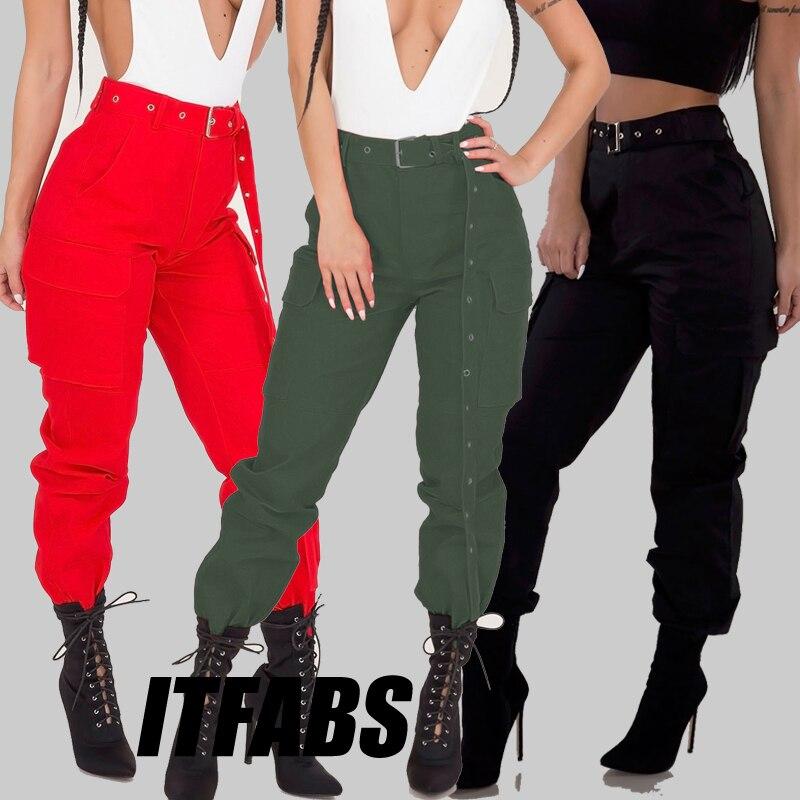 Ropa de calle, pantalones Cargo para mujer, pantalones casuales para correr, pantalones negros de cintura alta holgados de estilo Cargo para mujer, pantalones ceñidos de cintura alta