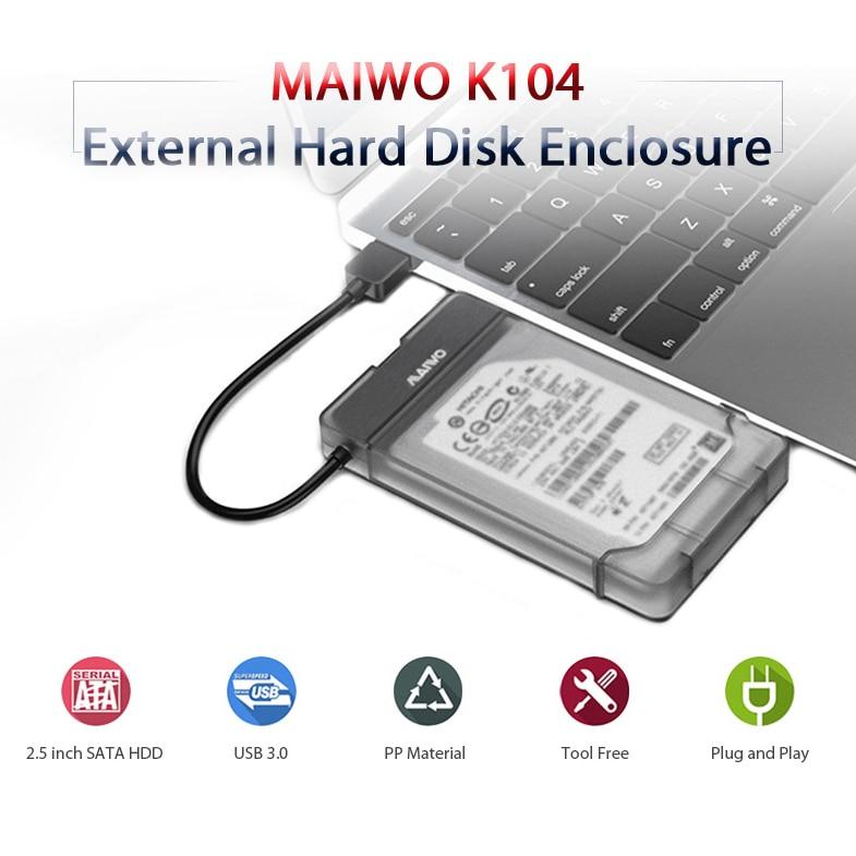 Maiwo K104 Usb 3.0 To Sata 3.0 Hdd Hard Drive Enclosure Support 2.5 Inch Ssd Free Tools