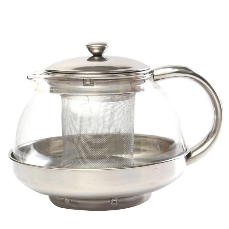 Tetera de cristal inoxidable de 800ml, infusor suelto, decoración Herbal de hojas de té y café