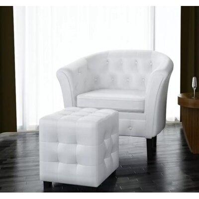 VidaXL de cuero Artificial Silla de bañera de barril sillón de Club Silla de café sofá individual muebles de sala de estar blanco plata oro