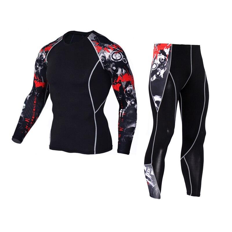 Mallas deportivas para hombre de rash guard, ropa deportiva de compresión, ropa deportiva para crossfit, camisetas de hombre de manga larga, conjunto ropa de MMA parkour