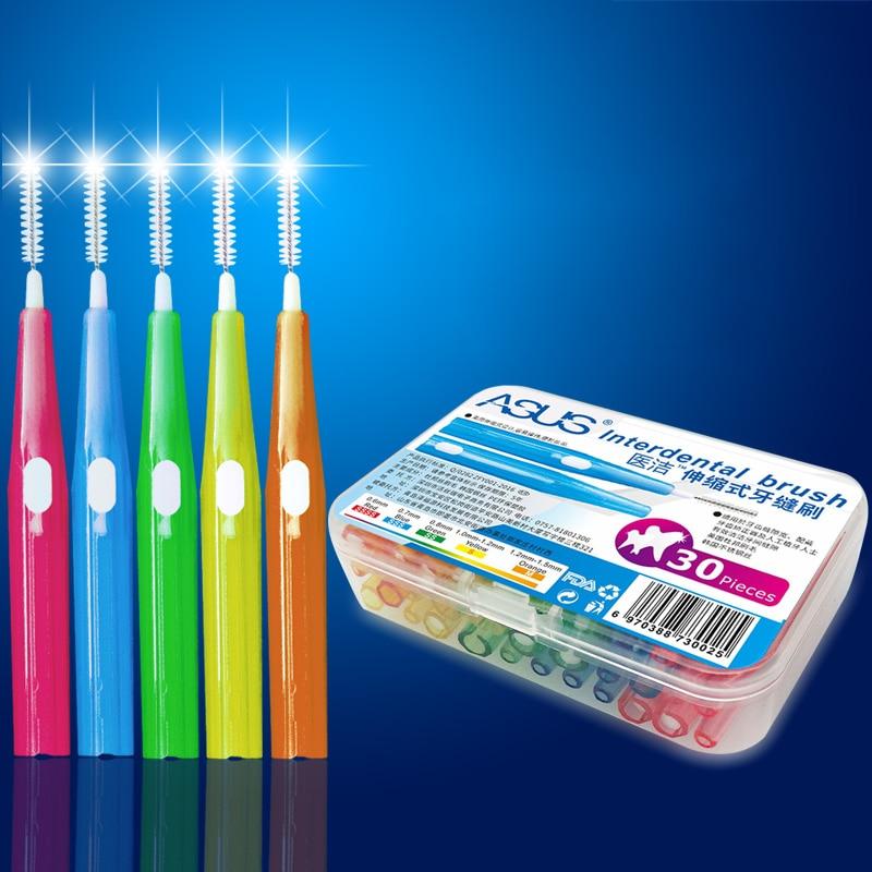 30 pçs/caixa escova de limpeza interdental dental fino macio push-pull ferramenta de cuidados orais higiene dentes vara flosser oral limpo palito
