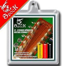 Spock SA112 cordes de guitare acoustique à 12 cordes en alliage de cuivre enduit pour noyau en acier inoxydable de guitare à 12 cordes