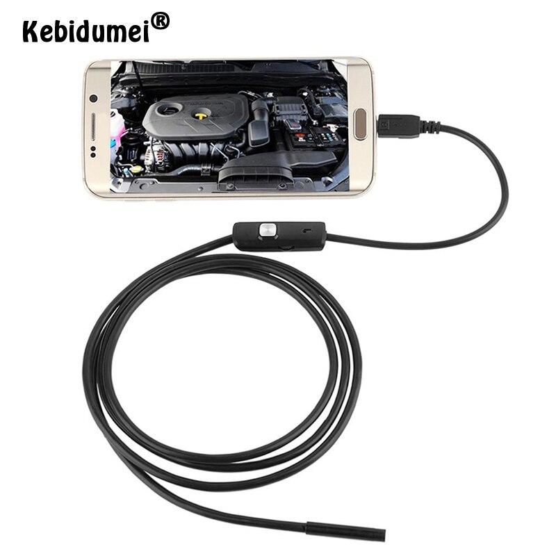 Kebidumei 1 м 7 мм USB кабель мини жесткая камера наблюдения змеиная трубка Водонепроницаемый эндоскоп Бороскоп с 6 светодиодами для телефона Android