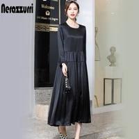 nerazzurri elegant real heavy silk dress women high quality black pleated natural dress long loose summer dress with sleeves