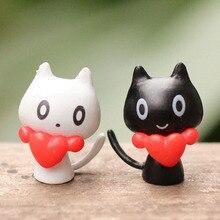 Kawaii Lover Cat Animal Miniature Fairy Garden Home Cat decor mini fairy garden animal statue miniature resin craft D3