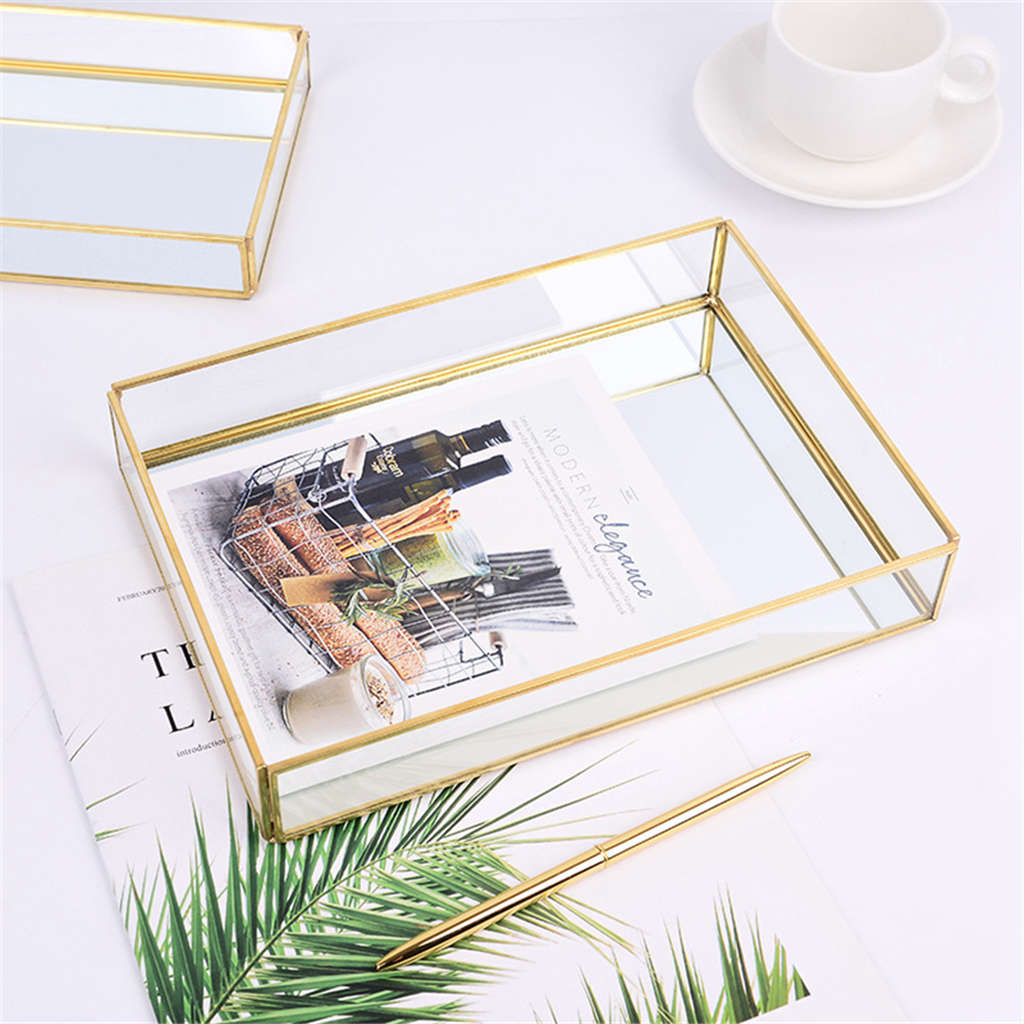 Hot Nordic Metal Makeup Storage Glass Makeup Organizer Tray Dessert Jewelry Display Storage Box