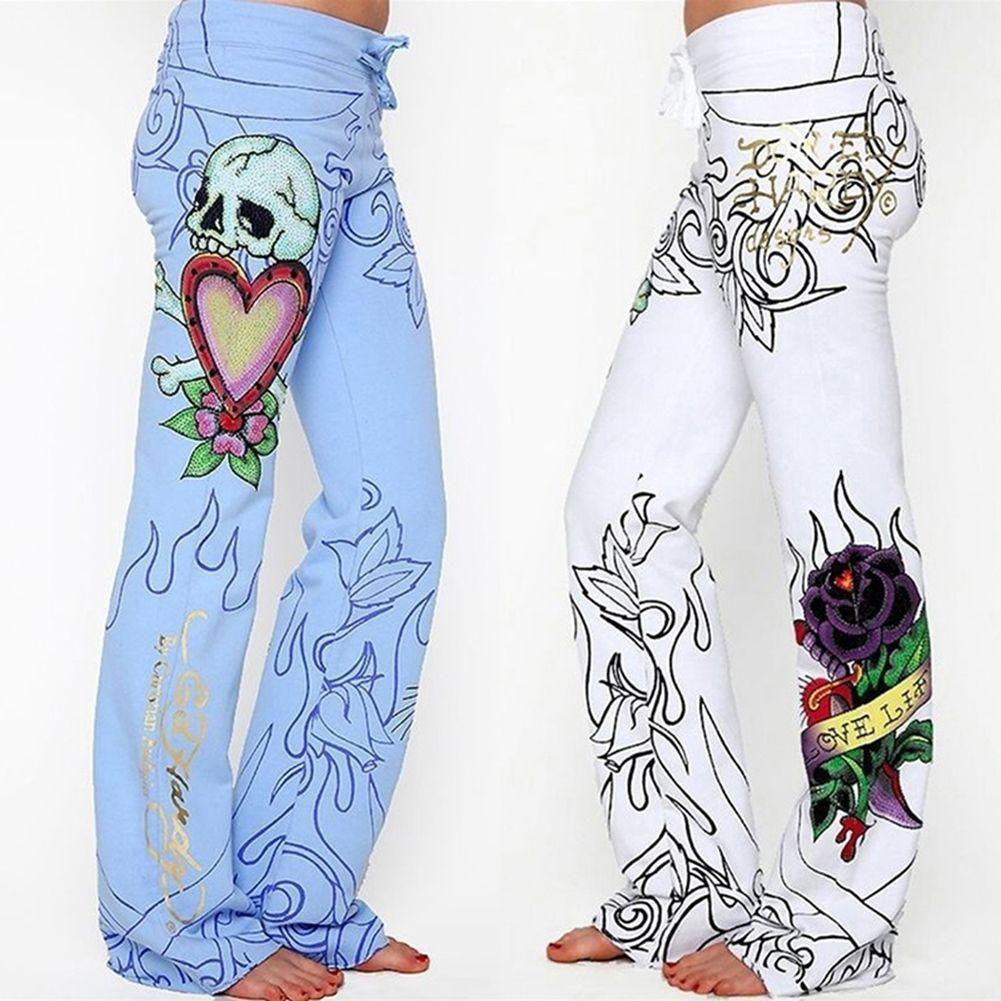 Novedad de 2019, estilo nuevo de marca de moda, pantalones Sexy informales con estampado Floral para mujer, pantalones de pierna ancha de talla grande S-5XL